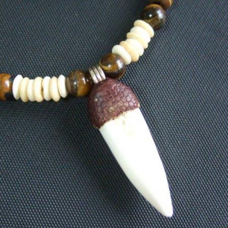 【表示現品】クロコダイルの歯ネックレス - 40286zhb