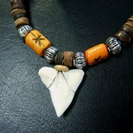本物のサメの歯ネックレス - 20038etk