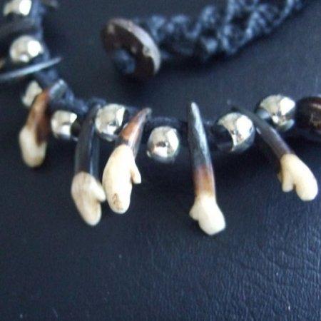 狼牙(本物の歯)ネックレス - 15007chc